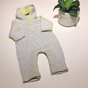 Stem Baby reversible quilted hooded romper